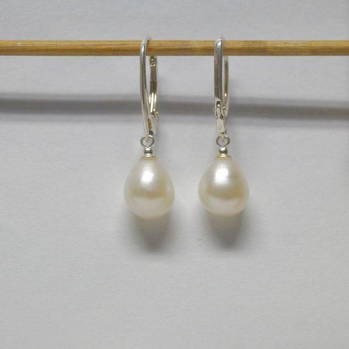 Perlyikamienie.pl Kolczyki wiszące perły naturalne biel pp20-1