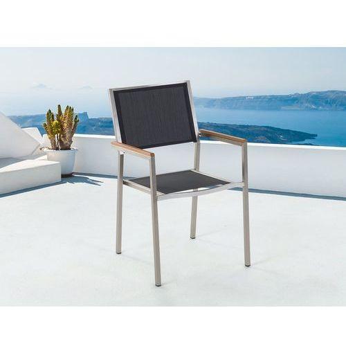 Meble ogrodowe czarne - krzesło ogrodowe - balkonowe - tarasowe - GROSSETO (7081458868223)
