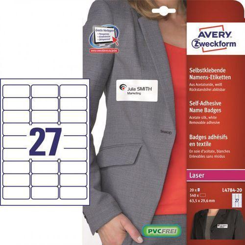 Etykiety identyfikatory Avery Zweckform L4784, 63,5x29,6mm - produkt z kategorii- Etykiety biurowe