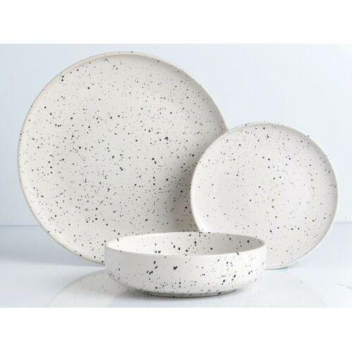 Serwis obiadowy z gresu granito - 18-częściowy - biały mat w cętki marki Sia