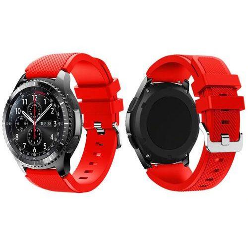 Gumowy pasek sportowy do Samsung Gear S3 / watch 46mm karbon czerwony - Czerwony, kolor czerwony