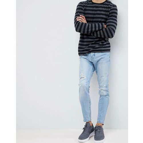 Pull&Bear Ripped Jeans In Carrot Fit In Mid Wash Blue - Blue, jeansy