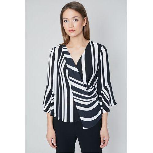 Bluzka w paski z kopertowo zakładanym przodem - Click Fashion, kopertowa