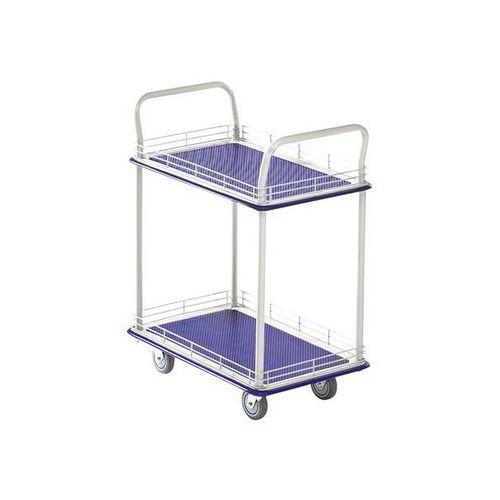 Przemysłowy wózek stołowy, z dwoma piętrami, nośność 200 kg. piętra z relingiem marki Seco