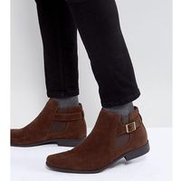 wide fit chelsea boots in brown faux suede with strap detail - brown, Asos