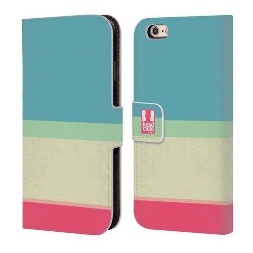 Etui portfel na telefon - Paski Niebieskie i Kremowe