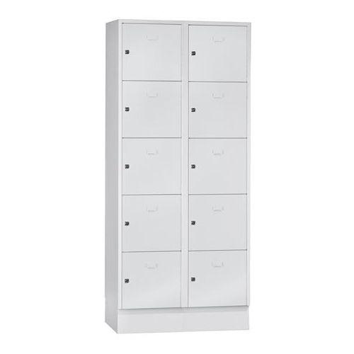 System zamykanych schowków z garderobami, 10 przegród o szer. 400 mm, jasnoszary