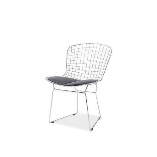 Krzesło metalowe NET srebrne - stal chromowana, czarna poduszka (5900000036090)