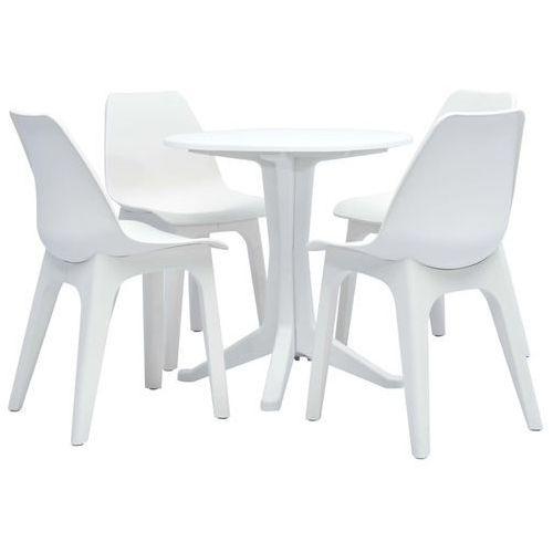 5-częściowy zestaw mebli ogrodowych, plastikowy, biały marki Vidaxl