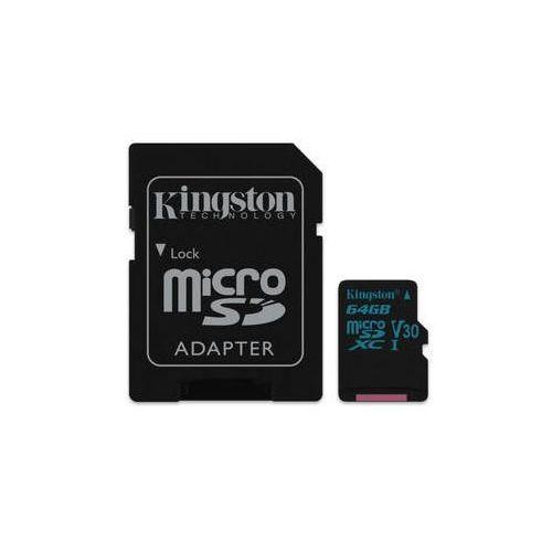 Karta pamięci canvas go! microsdxc 64gb uhs-i u3 (90r/45w) + adapter (sdcg2/64gb) marki Kingston