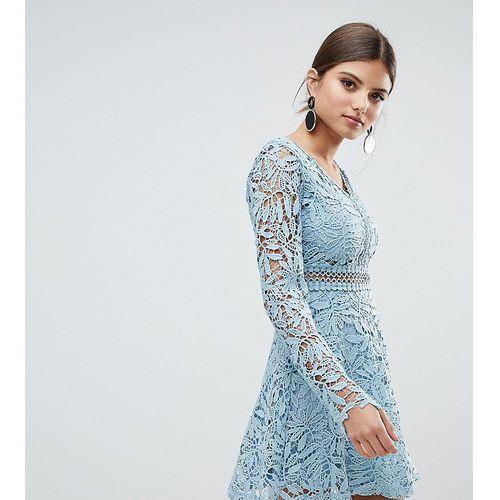 crochet lace long sleeve skater dress - blue marki Boohoo