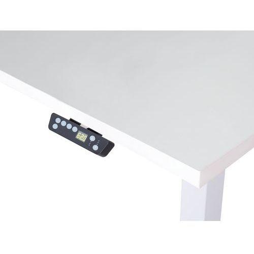 Beliani Biurko białe 160 x 80 cm regulowane elektrycznie uplift (7105274069845)