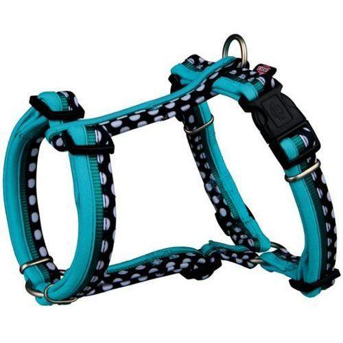TRIXIE Szelki ozdobne dla psa regulowane spacerowe Freshline Spot turkusowo-czarne, rozmiary 30-100cm