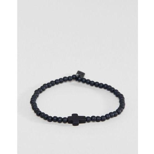 Icon brand cross beaded bracelet in black - black