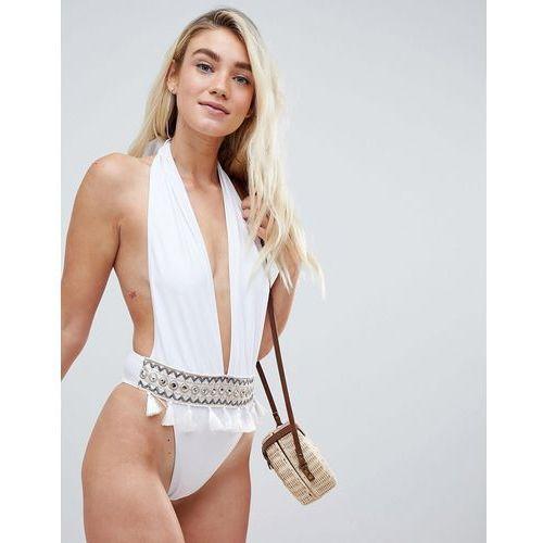 plunge embroidered tassle swimsuit - white marki Prettylittlething