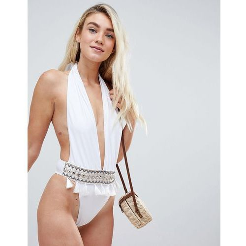 Prettylittlething plunge embroidered tassle swimsuit - white