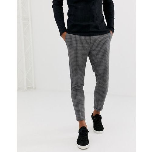 skinny fit cropped trousers in grey mini grid check - grey, New look