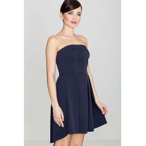 fbb8fe518b Katrus Elegancka granatowa gorsetowa sukienka z dłuższym tyłem