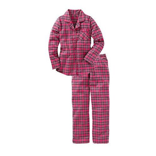 Piżama flanelowa bonprix różowy w kratę, kolor wielokolorowy