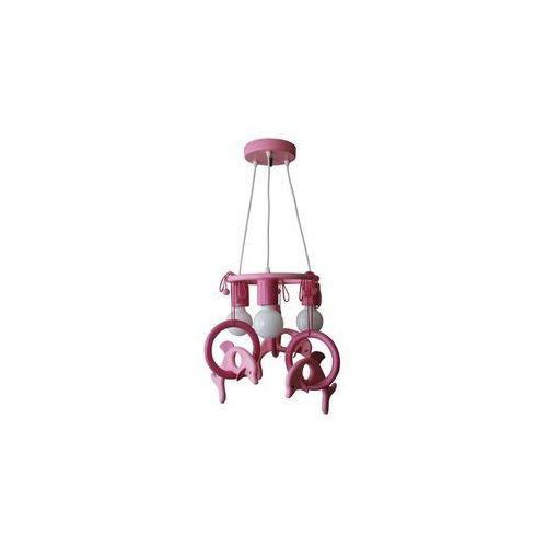 Lampa wisząca DELFIN fioletowa/ różowa/ drewno (5908218910201)