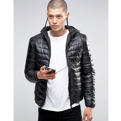 quilted padded jacket with in built headphones - black, Brave soul