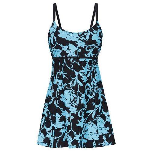 Sukienka kąpielowa wyszczuplająca bonprix turkusowo-czarny, kolor niebieski