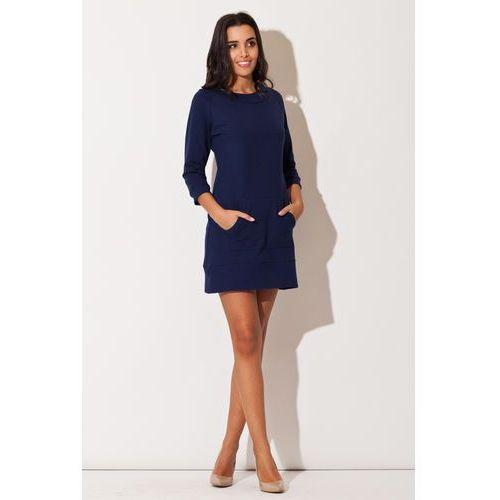 Niebieska Dresowa Sukienka z Kieszenią Kangurka, w 4 rozmiarach