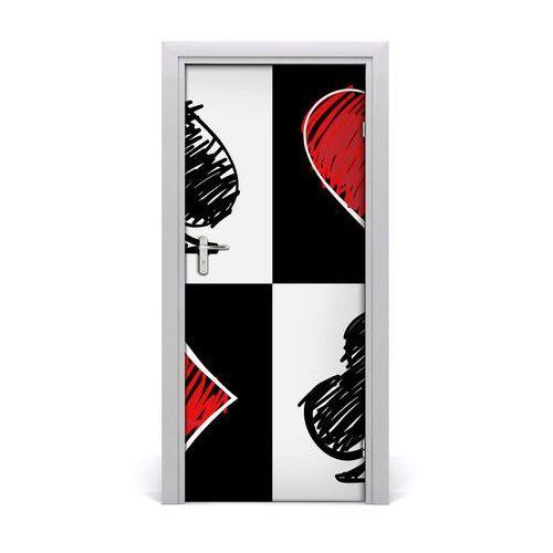 Naklejka samoprzylepna na drzwi Karciane kolory
