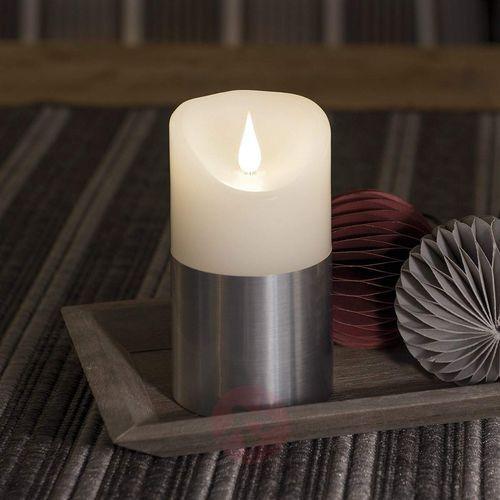 Konstsmide christmas Świeca woskowa led z opaską, srebrna, 13,5 cm