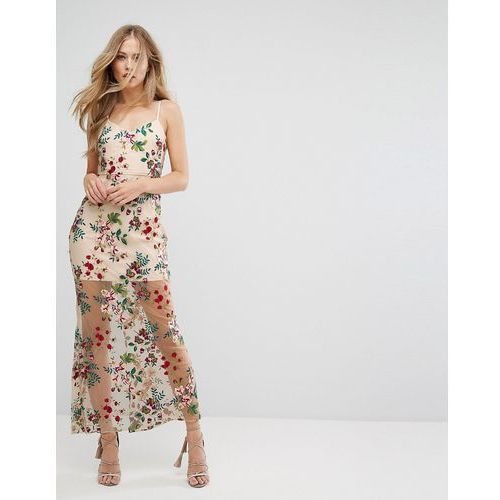 8cd5a4824e embroidered maxi dress with lace up back - multi marki Forever new
