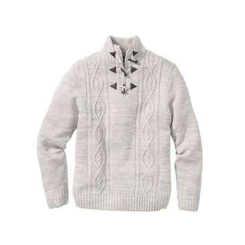 Sweter w warkocze Regular Fit bonprix jasnoszary melanż, z