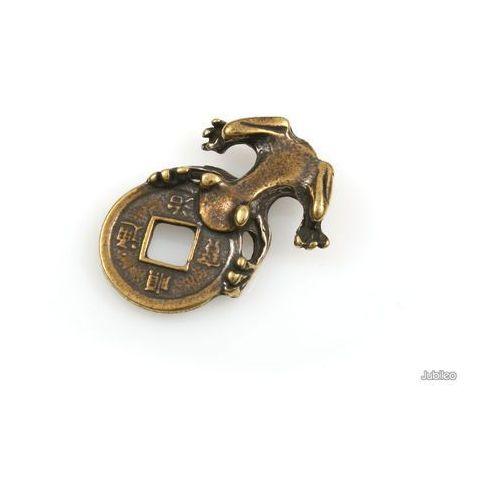 FIGURKA ŻABA PORTFELOWA talizmany symbole chińskie kolor stare złoto orient, aj929
