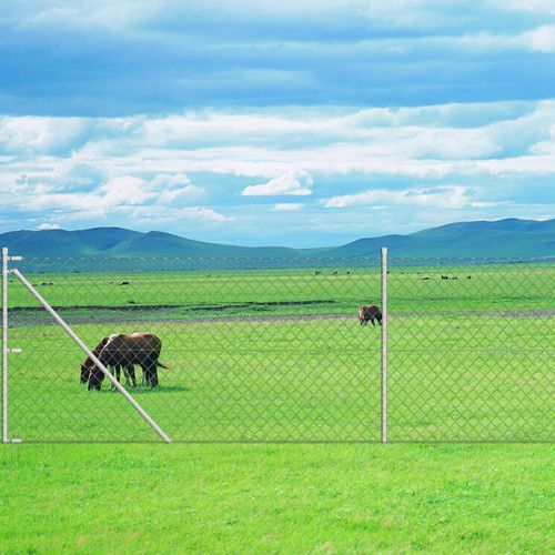 Vidaxl ocynkowane ogrodzenie metalowe (siatka) z kołkiem kotwiącym do słupka 15 x 1,5 m