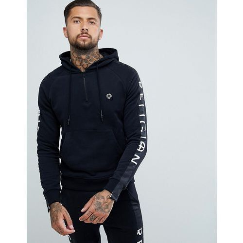 Religion hoodie with pockets and arm taping in black - Black, kolor czarny