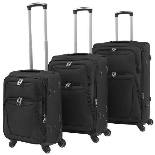 Vidaxl 3-częściowy komplet walizek podróżnych, czarny