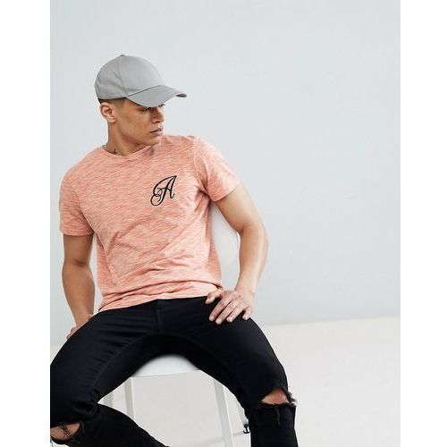 long line curved hem stretch logo t-shirt - brown, Another influence, XS-XL