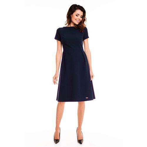 Granatowa Sukienka Rozkloszowana Midi z Krótkim Rękawem, kolor niebieski