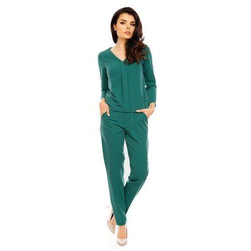 Zielony wygodny kombinezon w stylu casual z plisą marki Nommo