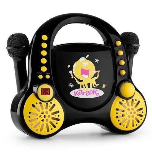 Auna  rockpocket dziecięcy system karaoke cd aux 2 mikrofony, zestaw naklejek, czarny
