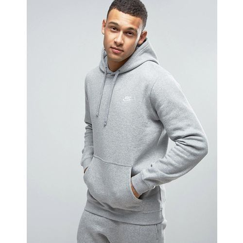 Nike Pullover Hoodie With Embroidered Logo In Grey 804346-063 - Grey, kolor szary