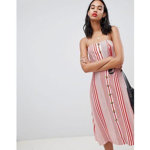 Boohoo Linen Mix Button Through Stripe Midi Dress - Red