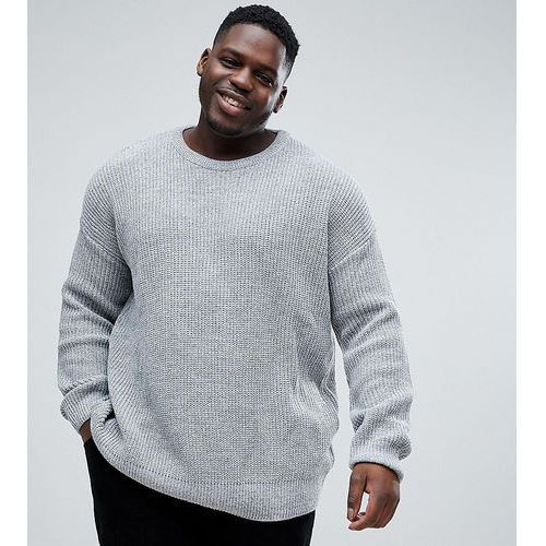 River Island Big and Tall Oversized Jumper With Fisherman Knit In Grey - Grey