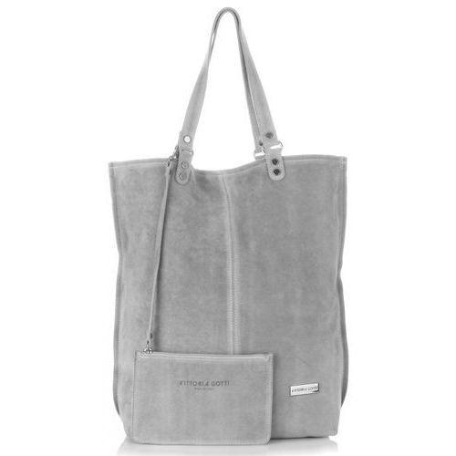 Uniwersalne włoskie torebki skórzane firmowy shopper w rozmiarze xxl zamsz naturalny wysokiej jakości jasno szara (kolory) marki Vittoria gotti