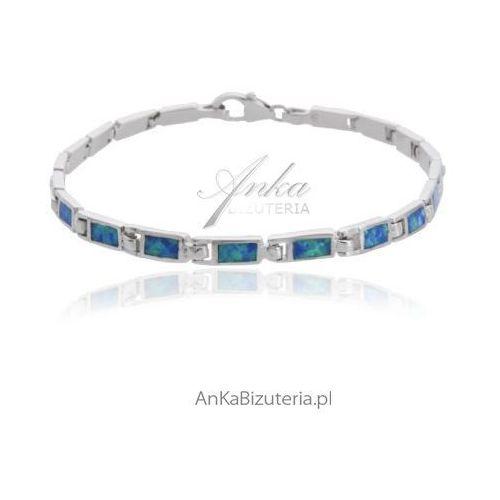 Bransoletka srebrna z niebieskim opalem, kolor niebieski