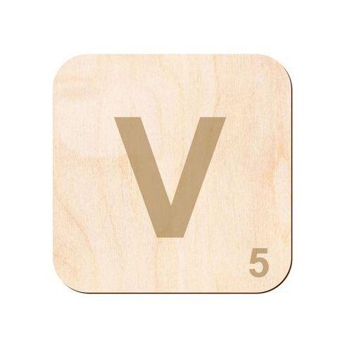Drewniana dekoracja na ścianę scrabble - literka V (5907509931956)