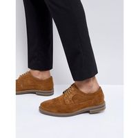 turner suede brogue shoes in tan - tan, Base london