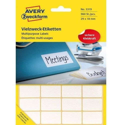 Avery zweckform mini etykiety w arkuszach do opisywania ręcznego, 29 x 18mm, białe, 960 sztuk