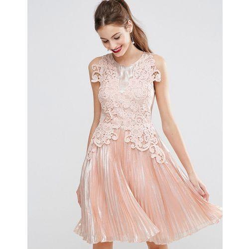 Asos  SALON Metallic Lace Applique Midi Skater Dress - Pink, różowa