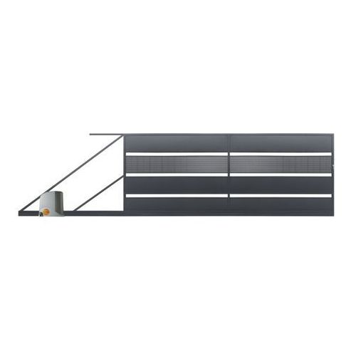 Brama przesuwna z automatem Polbram Steel Group Tebe 4 x 1 58 m ocynk antracyt lewa (5901122311157)