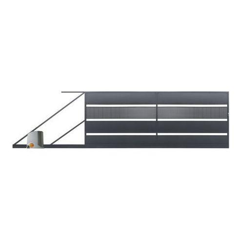 Brama przesuwna z automatem Polbram Steel Group Tebe 4 x 1,58 m ocynk antracyt lewa (5901122311157)